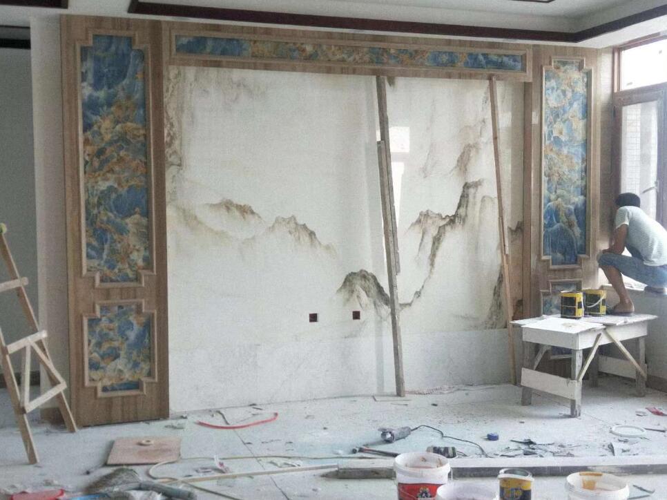 蓝玉+山水画背景墙