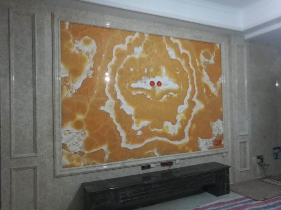 东方夏威夷橙子玉对拼背景墙
